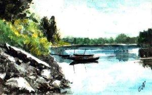 Tisza holtág, csónakok (21x30)